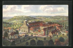 Künstler-AK Metzerlen-Mariastein, Blick auf das Kloster