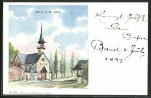 Künstler-AK St. Jakob, Ansicht der Kirche