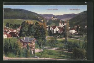 AK Arlesheim, Teilansicht mit Schloss Birseck