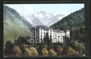 AK Interlaken, Regina Hotel Jungfraublick gegen die Jungfrau