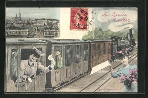 AK Nancy, Panorama, Reisedende in der Eisenbahn