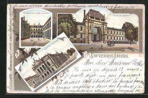 Lithographie Anvers, Theattre Flamand, Palais de Justice, La Cour du Musee Plantin