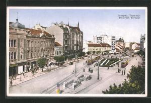 AK Beograd, Terazije, Strassenpartie mit Strassenbahn und Passanten