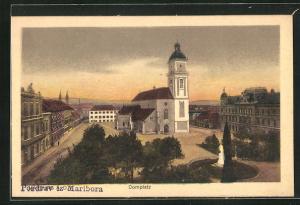 AK Maribor / Marburg, Domplatz mit Kirche
