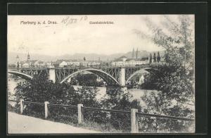 AK Maribor / Marburg, Teilansicht mit Eisenbahnbrücke