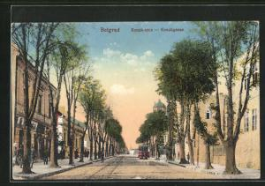 AK Belgrad, Konakgasse mit Strassenbahn