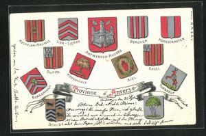 Präge-AK Berchem, Wappen von Städten der Provinz Anvers