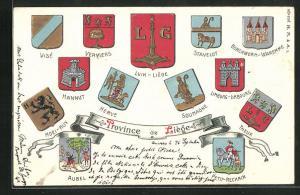 Präge-AK Soumagne, Wappen von Städten der Provinz Liège