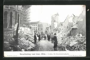 AK Lier, Beschieting 1914, Links St-Gummaruskerk