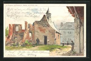 Künstler-AK Waterloo, La Ferme d`Rougoumont
