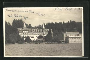 AK Bled / Veldes, Blick vom Wasser aufs Park-Hotel