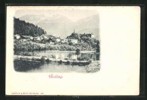 AK Golling, Teilansicht mit Bergen