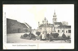 AK Gross-Enzersdorf, Hauptplatz mit Besuchern