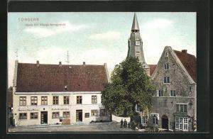 AK Tondern, Markt mit Königl. Amtsgericht