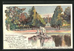 Lithographie Wien-Schönbrunn, Park mit Brunnen und Denkmal