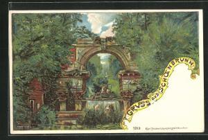 Lithographie Wien-Schönbrunn, die Römische Ruine