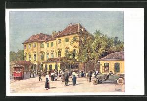 Künstler-AK Wien-Schönbrunn, Passanten vor dem Stöckelhaus