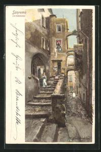 Künstler-AK San Remo, Blick in die Via Riccobono