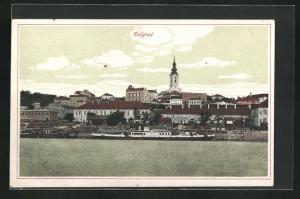 AK Belgrad, Flusspartie mit Booten und Kirchturm