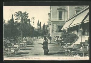 AK Abbazia, Promenade vor dem Café Quarnero mit Passanten