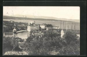 AK Malinska, Teilansicht des Ortes mit Wasserpartie