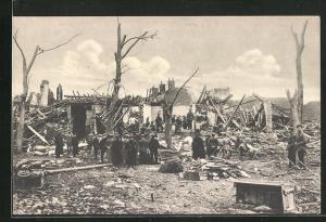 AK Lille, Zerstörte Häuser nach der Explosion am 11.2.1916