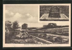 AK Skanse, Teilansicht des Friedhofs mit Grab von Leutnant Ancker