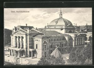 AK Oslo, Nationaltheater aus der Vogelschau