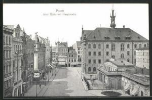 AK Posen / Poznan, Alter Markt mit Hauptwache aus der Vogelschau