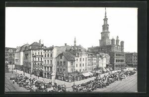 AK Posen / Poznan, Alter Markt und Rathaus aus der Vogelschau