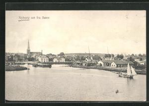 AK Nyborg, Blick vom See auf den Ort
