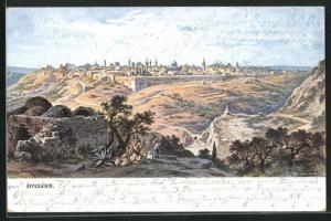 Künstler-AK Jerusalem, Blick auf den Ort