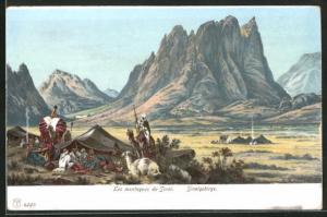 Künstler-AK Sinai, Les montagnes, Rast im Sinaigebirge