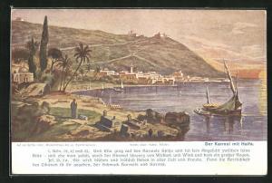 Künstler-AK Haifa, Panorama mit Missionshaus des ev. Karmel-Vereins und kath. Klöster