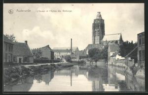AK Audenarde, L`Escaut et l`Eglise Ste. Walburge, Ortspartie