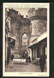 AK Rhodos, Historisches Tor, Hapag-Erholungs- und Vergnügungsreisen zur See