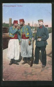 AK Kriegsgefangene Turkos mit Wache