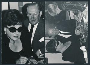 2 Fotografien Schauspielerin Zarah Leander bei einer Autogramm-Stunde