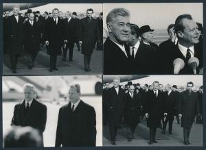 4 Fotografien Bundeskanzler Willy Brandt bei einem Staatsempfang am Flughafen Köln-Bonn