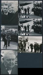 6 Fotografien Ludwig Erhard & Königin von England Queen Elizabeth II. am Flughafen