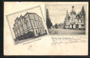 AK Torgelow, Gemeindehaus mit Feuerwehr, Geschäft Emil Hartwig