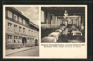 AK Goslar / Harz, Grauls Touristenheim und Hotel Reichshalle, Bergstrasse 4