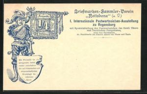 AK Regensburg, 1. Intern. Postwertzeichen-Ausstellung, Ganzsache Bayern PP7 D16 /01, Herold