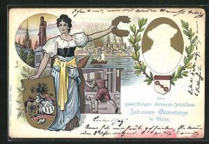 Präge-Lithographie Mainz, 500 jähr. Geburts-Jubiläum Johannes Gutenberg, Ganzsache PP15 D6, Wappen