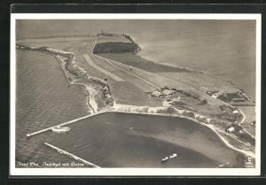 AK Insel Oie, Inselhof mit Hafen, Fliegeraufnahme
