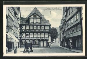 AK Hann. Münden, Langestrasse mit Haus Hilgenberg