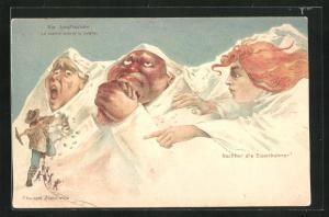 Künstler-AK Killinger Nr. 112: Jungfrau weist Eiger und Mönch auf die Eisenbahner hin, Berg mit Gesicht / Berggesichter