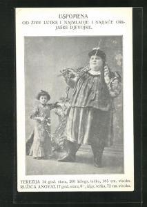 AK Übergewichtiges Mädchen Terezija mit Schlange um den Hals, Liliputanerin Ruzica Angyal