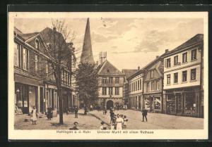 AK Hattingen a. d. Ruhr, Unterer Markt mit altem Rathaus