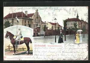 AK Halberstadt, Kürassier-Kaserne mit Soldat